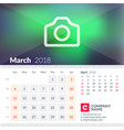 calendar for march 2018 week starts on sunday 2 vector image vector image