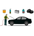 car service center is checking cars isolated vector image