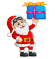 cartoon santa holding gift box vector image