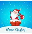 Christmas card with funny Santa Claus in chimney vector image