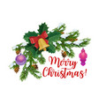 christmas icon fir branches and jingle bell vector image