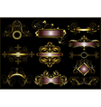 Collection of vintage gold frames vector image vector image