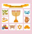 Color hanukkah icons with torah menorah and