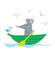 cute rat in boat vector image