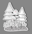 cute wild animals with pine trees vector image