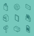 delivery outline isometric set vector image