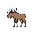 elk deer flat color line icon vector image vector image