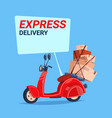 express delivery service icon retro motor bike vector image vector image