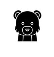 funny bear black icon sign on isolated vector image