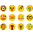 Funny orange zodiac sign icon set astrological vec vector image vector image