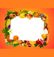 garden and tropical fruits blank frame vector image vector image