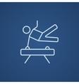 Gymnast exercising on pommel horse line icon vector image
