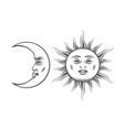 hand drawn art sun and crescent moon engraving vector image