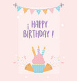 happy birthday cupcake with candles confetti vector image vector image