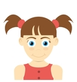 happy girl with pigtails icon vector image vector image
