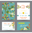 Invitation or Greeting Card Set - Tropical Flowers vector image vector image