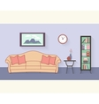 Living room with furniture and long shadows Flat vector image vector image