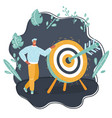 man standing with a big target and arrow vector image vector image