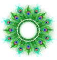 Mandala of Green Peacock Feathers vector image vector image