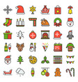 merry christmas theme set such as snowman santa vector image