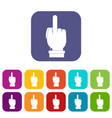 middle finger hand sign icons set flat vector image vector image