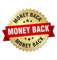 money back 3d gold badge with red ribbon