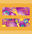 Monster alien set of banners