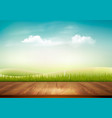 nature background with wooden deck in front of vector image