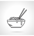 Noodles bowl black line icon
