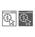 pay per click line and glyph icon seo and money vector image vector image