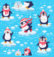 penguins seamless pattern cute bapenguins in vector image vector image