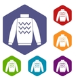 Pullover icons set vector image vector image