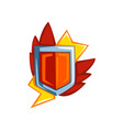 red shield with lightnings emblem vector image