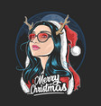 santa claus girl deer horn use glasses artwork vector image