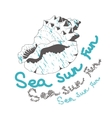 sea sun fun shell on white background vector image vector image