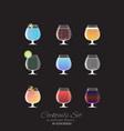 set of 9 cocktails vector image