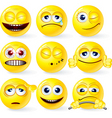 set of yellow smileys 3 vector image vector image
