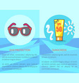 set sun protection and sunscreen posters vector image vector image