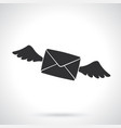 silhouette flying closed envelope with wings vector image vector image