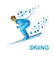 skiing skier running downhill vector image vector image