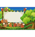 Squirrels and board in the park vector image vector image