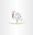 stylized stork design element vector image vector image