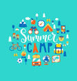 summer camp with a lot camping equipment vector image vector image