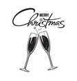 two sparkling glasses champagne or wine vector image