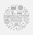 unhealthy food round junk vector image
