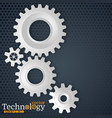 white 3d gears on the gray hexagon background vector image vector image