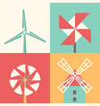windmill linear flat icons wind energy cartoon vector image vector image