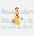 young woman independent traveler vector image