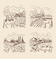 village and big field landscape with vector image