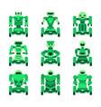 green robots on wheels icons set vector image